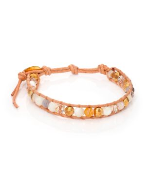 Opal, Mother-Of-Pearl, Crystal & Leather Beaded Wrap Bracelet