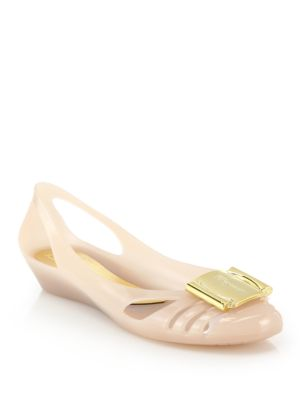 salvatore ferragamo female 243279 bermuda cutout jelly wedge sandals