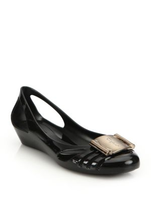 salvatore ferragamo female 188971 bermuda cutout jelly wedge sandals
