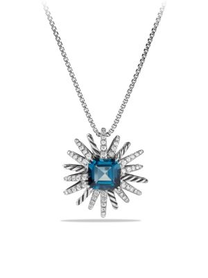 Starburst Necklace with Diamonds in Silver, 23MM