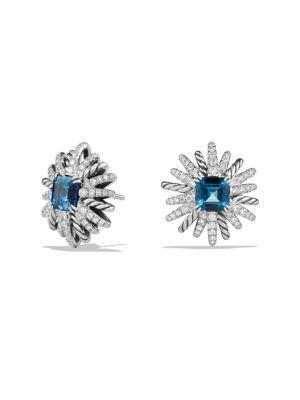 Starburst Stud Earrings with Diamonds in Sterling Silver