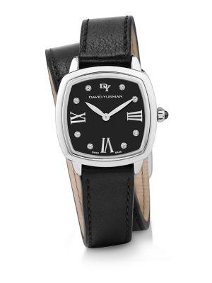 Albion 27MM Leather Swiss Quartz Watch with Diamonds