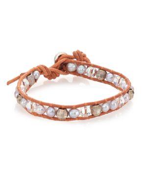 6MM Grey Potato Pearl, Crystal & Leather Wrap Bracelet