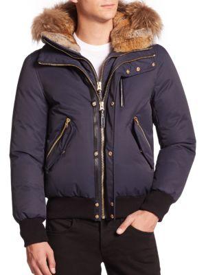 Dixon Lux Fur-Trim Down Bomber Jacket