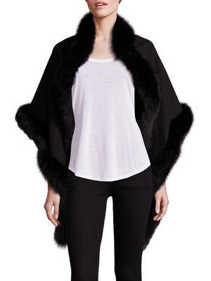 Oblong Fox Fur-Trimmed Cashmere Wrap