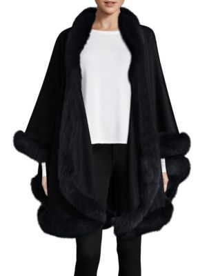 Dyed Fox Fur-Trim Cashmere Wrap