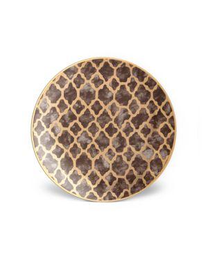 4-Piece Fortuny Ashanti Earthenware 24K Gold-Finish Dessert Plates