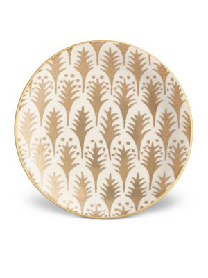4-Piece Fortuny Piumette Earthenware 24K Gold-Finish Canape Plates