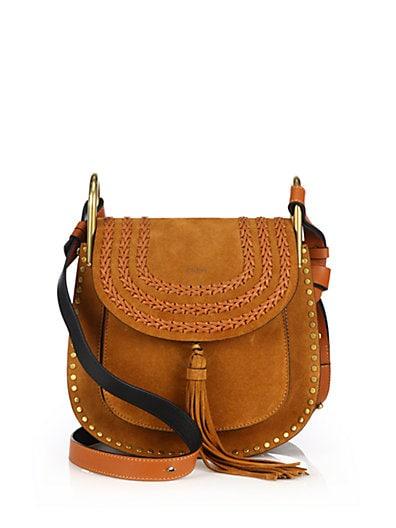 CHLOÉ Hudson Small Studded & Braided Suede Shoulder Bag