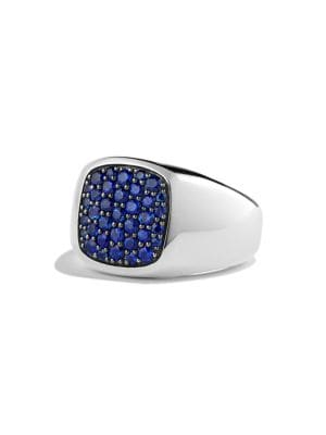 Pave Blue Sapphire Signet Ring