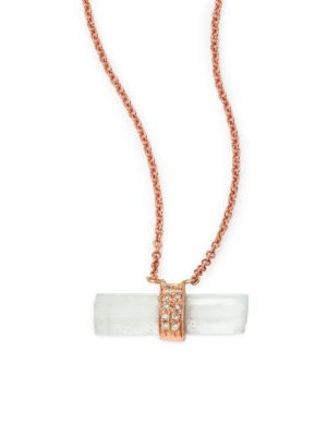 Aquamarine, Diamond & 14K Rose Gold Aura Bar Pendant Necklace