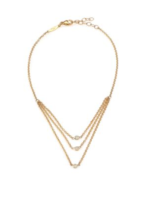 Diamond & 14K Yellow Gold Draped Three-Strand Anklet