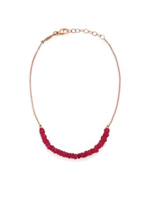 Beaded Ruby & 14K Rose Gold Beaded Anklet