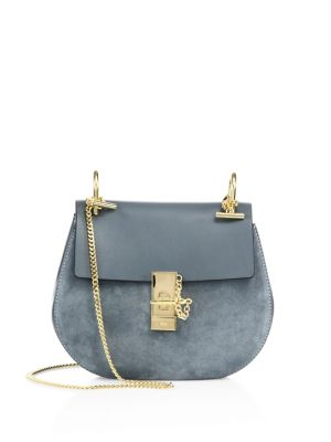 Drew Small Suede & Leather Saddle Crossbody Bag
