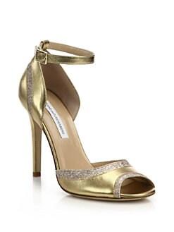 21d2d52035c7a Diane von Furstenberg Valentina Metallic Leather   Glitter Sandals