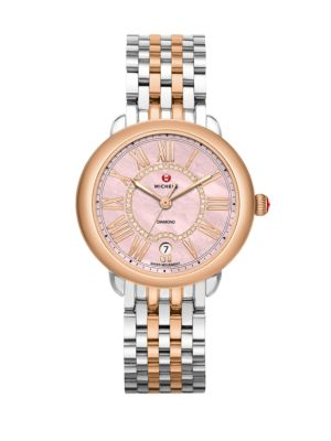 Serein 16 Diamond, Pink Mother-Of-Pearl & Two-Tone Stainless Steel Bracelet Watch