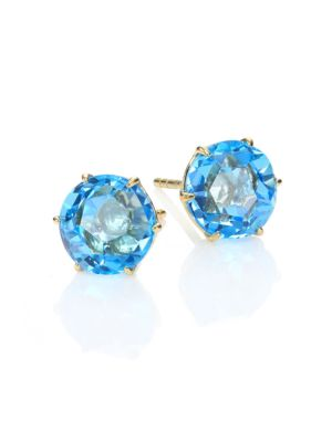 Rock Candy Swiss Blue Topaz & 18K Yellow Gold Medium Stud Earrings