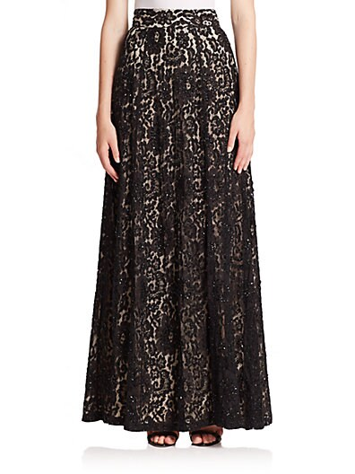 Issa Embellished Lace Maxi Skirt $677.60 AT vintagedancer.com