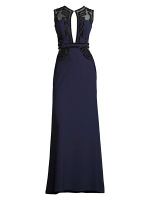 Embellished Mesh Panel Gown