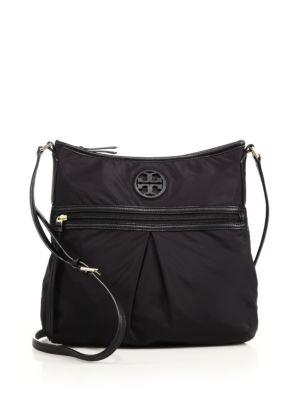 Nylon & Leather Swingpack Crossbody Bag
