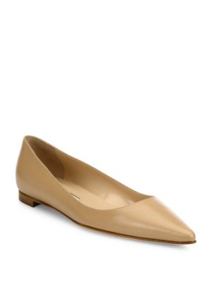 BB Leather Point-Toe Flats