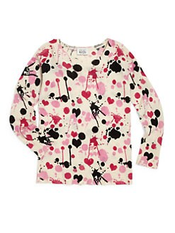 Autumn Cashmere - Girl's Spatter Print Merino Wool/Cashmere Sweater