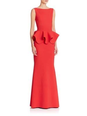 Stretch-Jersey Peplum Gown