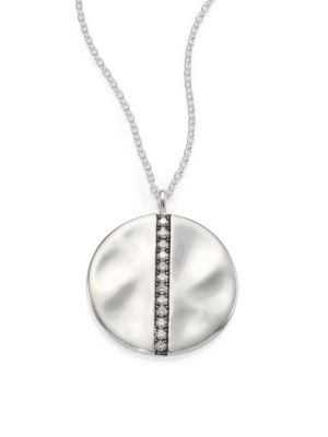 Glamazon Stardust Diamond & Sterling Silver Large Disc Pendant Necklace