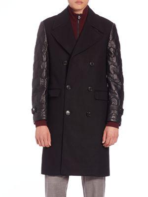 Kent & Curwen Officer Leather-Sleeve大衣外套