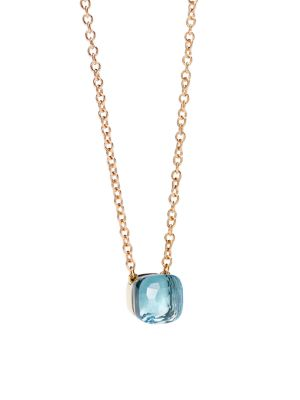 Blue Topaz & 18K Rose Gold Pendant Necklace