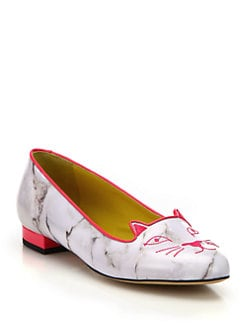 Charlotte Olympia - Marbled Leather Cat-Embroidered Flats