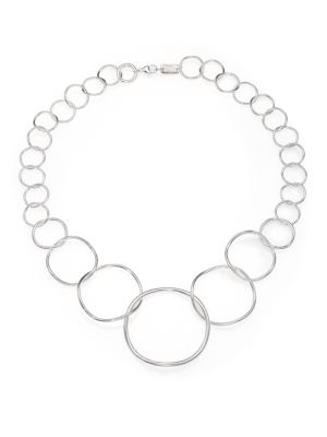 Glamazon Sterling Silvery Wavy Circle Necklace