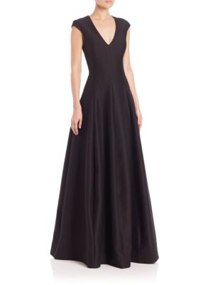 Silk Faille Cap-Sleeve Gown