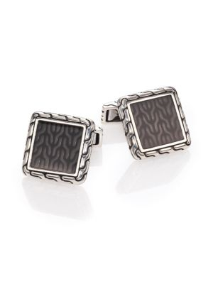 Classic Chain Enamel & Sterling Silver Cuff Links