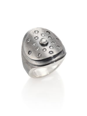 RENE ESCOBAR Diamond & Sterling Silver Oval Ring