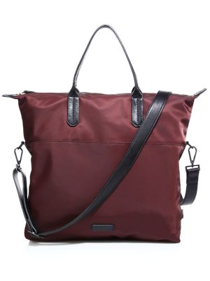 Leather-Trimmed Nylo Tote