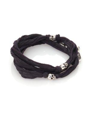 Sterling Silver & Silk Skull Wrap Bracelet