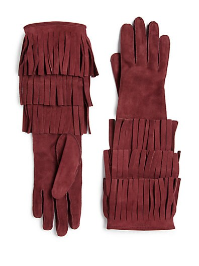 Burberry Prorsum Maureen Fringed Suede Gloves