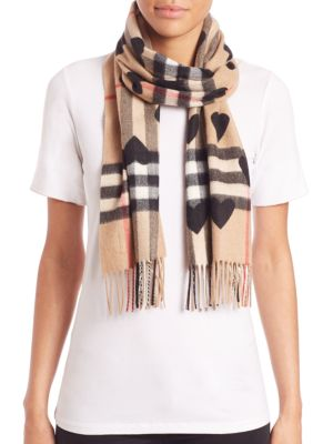 Heart-Print Giant Check Cashmere Scarf