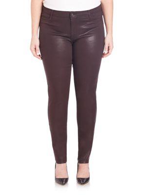 Faux Front-Pocket Glossed Leggings plus size,  plus size fashion plus size appare
