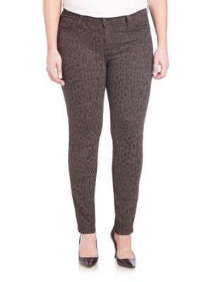 Printed Cigarette-Leg Jeans plus size,  plus size fashion plus size appare