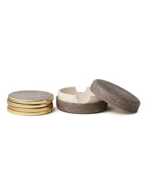 Shagreen  Brass Coaster SetSet Of 4