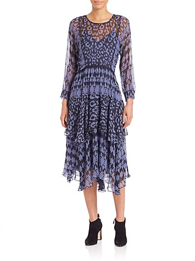 Leo Printed Silk Ruffle Dress $409.27 AT vintagedancer.com