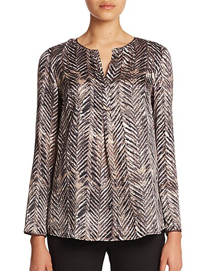 Urbane Chevron-Printed Silk Bracelet-Sleeve Samantha Top