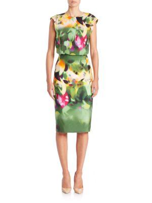 Silk Grand Hedge-Print Blouson Dress