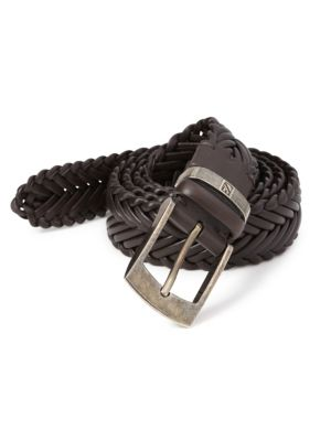 Herringbone Braided Leather Belt