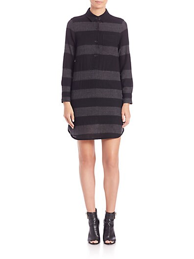 Darin Stripe Wool Shirtdress