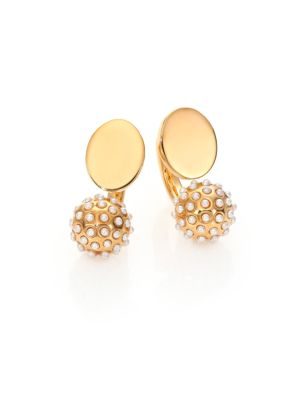 Darcey Faux Pearl Sphere Arc Earrings
