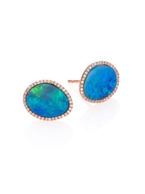 2c64861ad MEIRA T OPAL, DIAMOND & 14K ROSE GOLD STUD EARRINGS, ROSE GOLD-BLUE ...