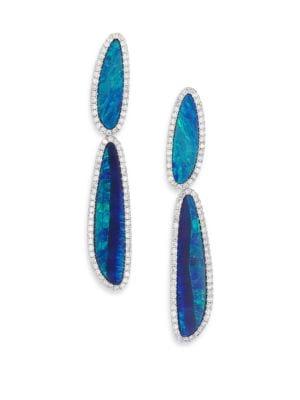 Boulder Opal, Diamond & 14K White Gold Drop Earrings